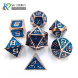 Blue glitter Enamel Metal Dice Set