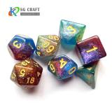 3 colors mixed Swirl with Chameleon Glitter Dice